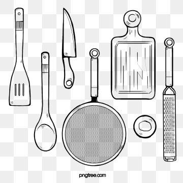 Black Line Drawing Kitchen Tool Kitchenware Tools Black Line
