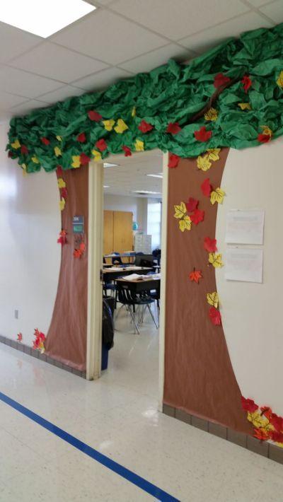 wooden door curtain classroom