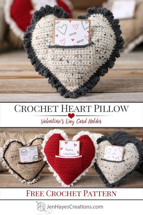 Free Crochet Heart Pillow Pattern - Jen Hayes Creations Knitting TechniquesKnitting For KidsCrochet PatronesCrochet Scarf Holiday Crochet, Crochet Gifts, Free Crochet, Easy Crochet, Crochet Pillow Pattern, Free Heart Crochet Pattern, Crochet Hearts, Knitting Patterns, Crochet Patterns