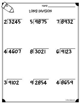 Long Division Worksheets 4 Nbt B6 5 Nbt B6 Division
