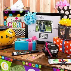"""There are more ways than one to say """"congratulations!"""" Set up a grad-worthy sign-in station for guests to leave gifts or kind notes before heading into the party!"""
