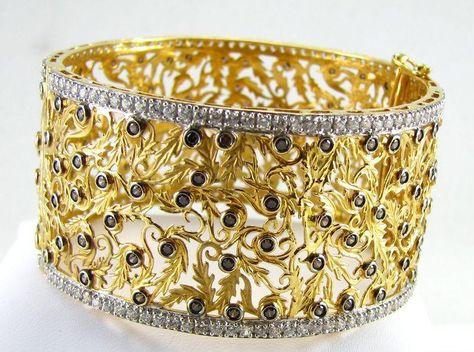 Gorgeous 21K Gold Floral Bangle Bracelet. via Etsy.