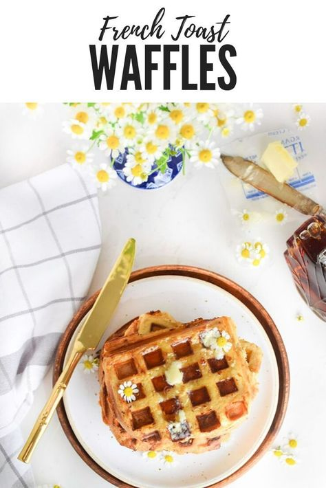 French Toast Waffles - These two brunch staples come together in one easy recipe! It's so quick and delicious. You can easily modify this recipe and use whatever bread or milk you have on hand. Pump up this recipe with fresh fruit that bananas or berries. Perfect for breakfast, brunch, or dinner #frenchtoast #brunchrecipe #waffles #waffleiron