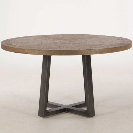 Long Beach Wood And Iron Round Dining Table 54 With Images