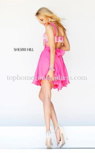 Pink Mini Sherri Hill 11065 Layered Homecoming Dress | s h e r r i h i l l  | Pinterest | Homecoming dresses, Homecoming and Minis