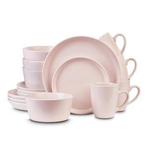 Stone Lain 32 Piece Pink Stoneware Round Dinnerware Set Service