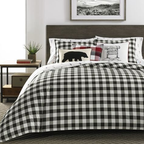 Mountain Reversible Duvet Cover Set Plaid Comforter Comforter Sets Plaid Bedding