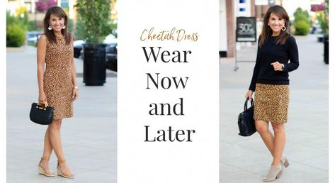 Today I've got a cheetah print dress that you can wear now and later when the weather gets cold. It's easy to style a sleeveless sheath dress for cooler weather by adding a sweater.  #CyndiSpivey #fashionover40 #summerfashion #fallfashion #workwear #womensfashion #outfitideas #fashionover40dresses