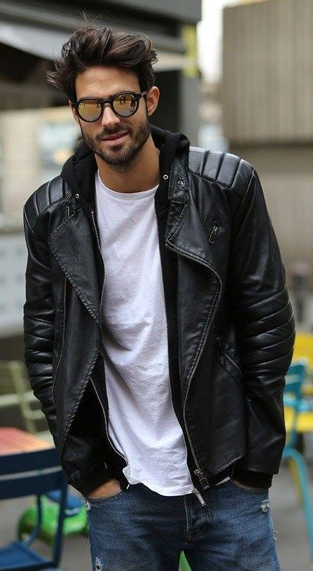 Ta Top Andrika Mpoyfan Poy Den Prepei Na Leipoyn Apo Th Ntoylapa Soy Hipster Mens Fashion Leather Jacket Outfit Men Stylish Mens Outfits