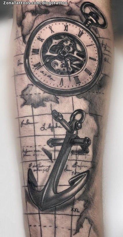 Tatuaje De Brujulas Mapas Anclas Tatuajes Brujula Tatuajes