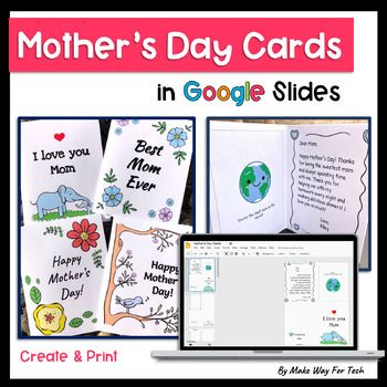 Mother S Day Card Templates In Google Slides Mothers Day Card Template Mothers Day Cards Distance Learning