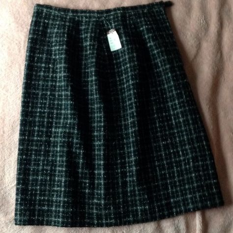 1b7fcbd494 Wool Tweed Skirt Super cute wool blend tweed skirt. Black, gray and white  fuzzy plaid detail is a can't miss for business or casual.