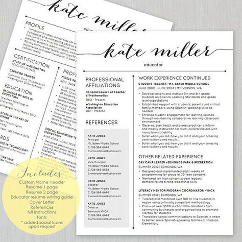 TEACHER Resume Template for MS Word 1 and 2 Page by ...