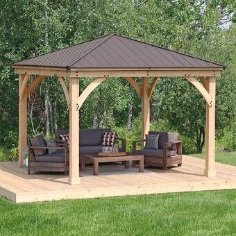12 Ft W X 12 Ft D Solid Wood Patio Gazebo In 2021 Patio Gazebo Backyard Gazebo Pergola Patio