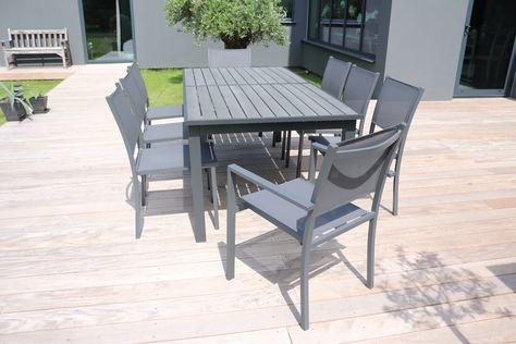 Table de jardin extensible 10 places en aluminium et ...
