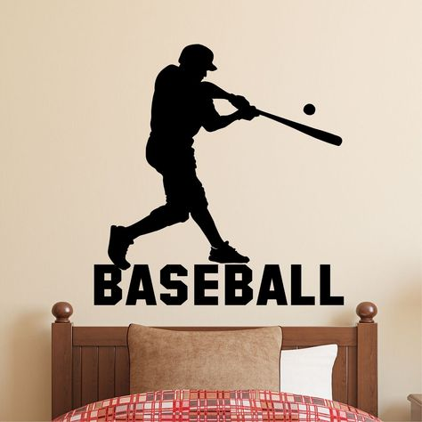 Baseball Wall Decal Playroom or Home Decor Batting Player Sport Sticker Vinyl Decal for Childrens Bedrooms