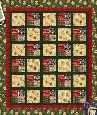 Boy Scout Quilt - Free Pattern.  www.AlderwoodQuilts.com  Could use fire fighter fabrics to make this