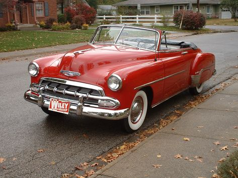 A terrific tomato red 1952 Chevrolet Convertible. #vintage #1950s #cars