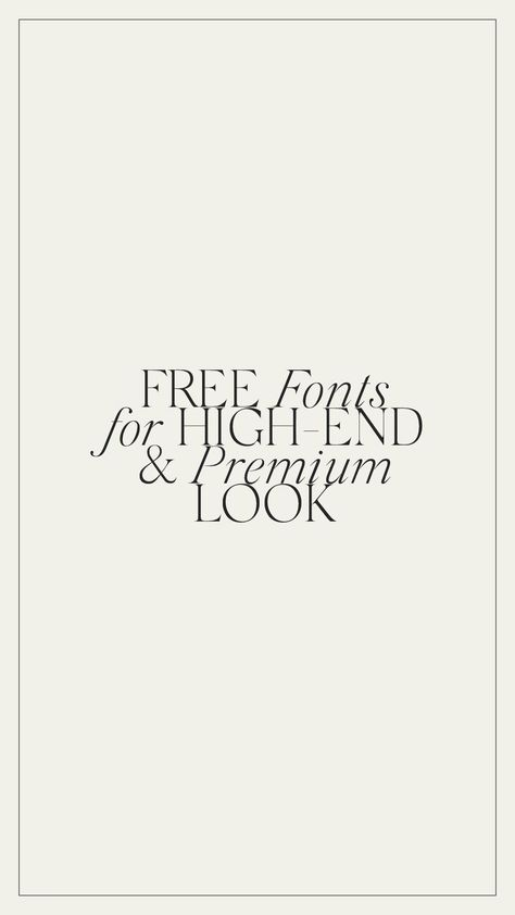 FREE fonts for high-end and premium look.