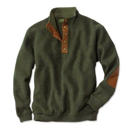c964da4f96 Amazon.com  Orvis Men s Boiled-Wool Snap-Front Pullover  Clothing ...