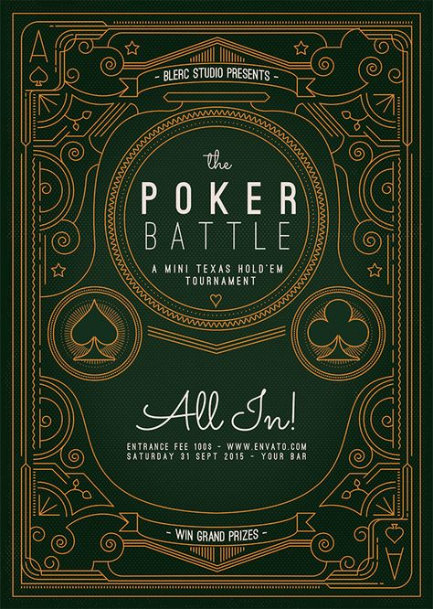 The Poker Battle: Poker Event Psd & Ai Template. An easy to edit Flyer Template, designed for any of your upcoming poker events. Single weight / line art illustration. Single stroke weight was used in order to achieve a vintage look. The Stroked designs are grouped in different layers so the colors can be changed independently. Dead simple to edit. All in!