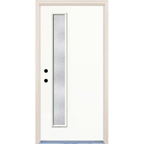 Builders Choice 36 In X 80 In Classic 1 Lite Rain Glass Painted Fiberglass Prehung Front Door With Brickmould Hdx163290 Clear Glass Glass Doors