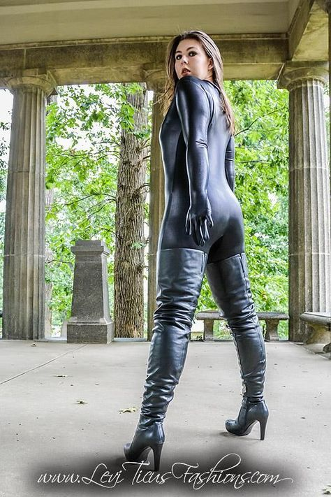 Head to Toe black Leather Catsuit Outfit and cracking black Leather Crotch Boots