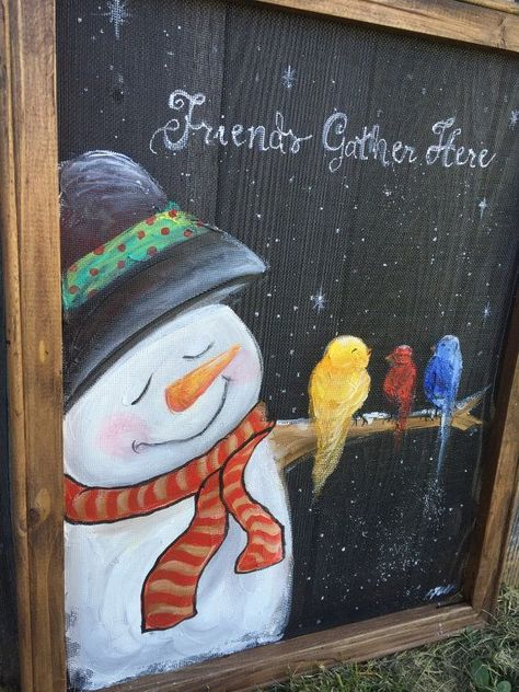 Friends gather here snowman by RebecaFlottArts on Etsy. Cute snowman and pretty colorful birds.