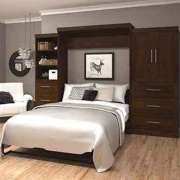 Boutique Queen Wall Bed With Two 25 Open Storage Units In White In 2020 Bedroom Wall Units Wall Bed Modern Murphy Beds