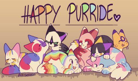 "allosexuel:  "" pride kitties!  pan, bi, ace/aro, gay, lesbian, nonbinary, trans, and intersex!  """