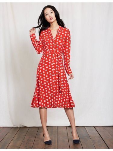 Boden Red Spotted Jessica Shirt Dress Tie Waist Long Sleeve Uk Size 12 Fashion Clothing Shoes Acces Long Sleeve Shirt Dress Shirt Dresses Uk Red Midi Dress