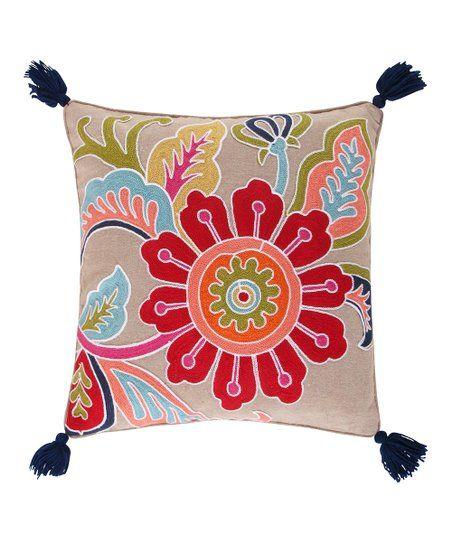 Levtex Home Blue Red Jules Crewel Flower Tassel Pillow Zulily Throw Pillows Chic Throw Pillows Square Throw Pillow