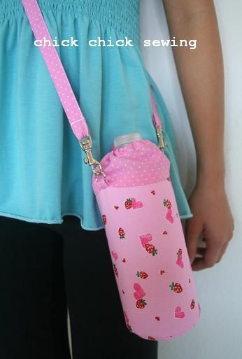 chick chick sewing: Handmade water bottle holder