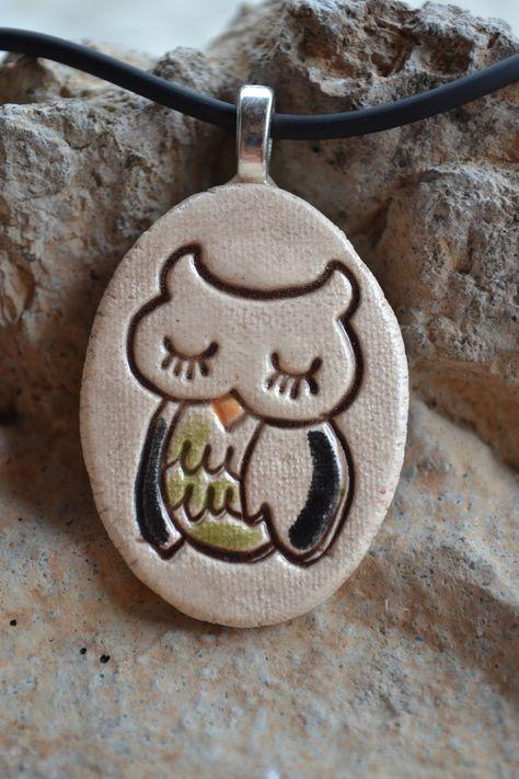 Owl clay pendant