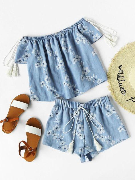 77926b7d2b #MakeMeChic - #MAKEMECHIC Flower Print Tasseled Tie Bardot Top And Shorts  Set - AdoreWe