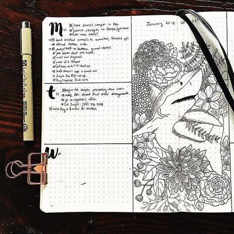 "Reposting @thebotanicalbullet: ... ""Grab life by the jaws 🦈 A snapshot of this week that I took a few days ago . . . #bulletjournal #bujo #journaling #journal #planner #bujo2018 #bujoinspo #showmeyourplanner #bujojunkies #bujonewbie #bujobeauty #leuchtturm1917 #bulletjournalnewbie #bulletjournalinspiration #weeklyspread #weeklyoverview #flowers #sketch #shark #micronpen #blackworknow #floralsyourway"""