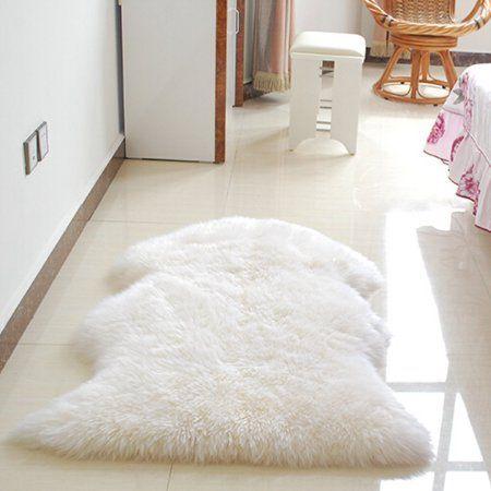 Meigar 24 X35 Soft Sheepskin Plain Fluffy Skin Faux Fur Fake Rug Cheap Washable Mat Small Rugs With Images Faux Sheepskin Rug Fluffy Rug Rugs On Carpet