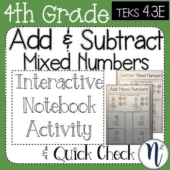 Add Subtract Mixed Numbers Interactive Notebook Quick