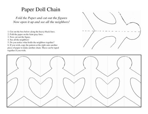 Paper Doll Chain Template Around the world Paper doll chain
