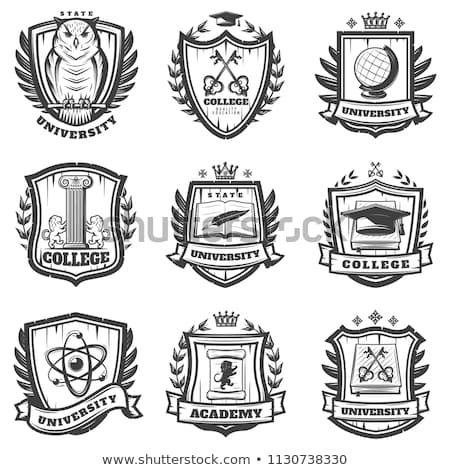 Vintage Educational Coat Of Arms Set With University College And