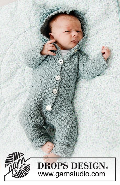 Knitted Suit For Baby In Drops Merino Extra Fine Piece Is Knitted