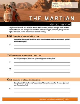 The Martian 2015 Guided Viewing Movie Guide Worksheet The Martian Movie Guide High School Astronomy