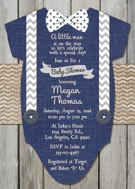 24 PRINTED Custom Baby Shower Boy Navy Blue Onesie Invitations with envelopes
