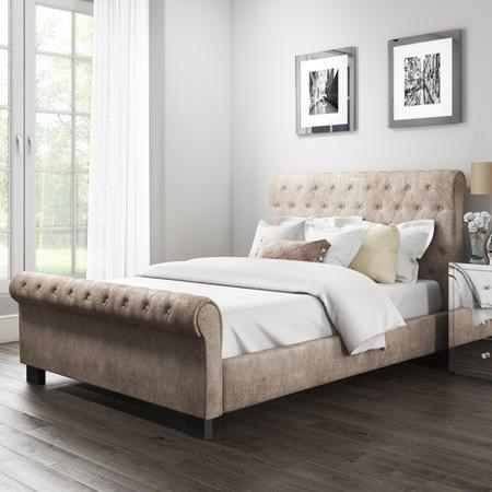 Safina Roll Top Double Sleigh Bed In Mink Velvet Furniture123