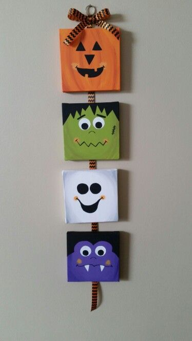 6 X 6 Canvases Inspired By Pinterest Completed And Pinned Back To Pinterest Canvas In 2020 Halloween Deko Ideen Halloween Selber Machen Halloween Deko