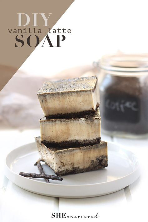 Easy DIY Vanilla Latte Soap that's ready in under an hour! There's so many benefits to using coffee in your skincare routine. Find out here!