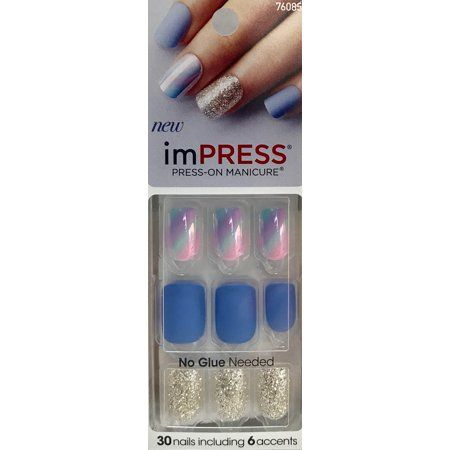 Impress Press On Nails Gel Manicure Firefly Walmart Com In 2020 Impress Nails Fake Gel Nails Glue On Nails