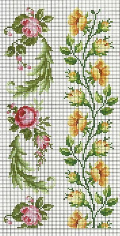 Cross Stitch Patterns For Tablecloths Simplebloom Samples Kreuzstichvorlagen Für Tischdeck Floral Cross Stitch Cross Stitch Flowers Cross Stitch Rose