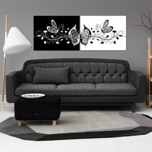 Cg2211 تابلوه مودرن أبيض وأسود مجموعة قطعتين Decor Furniture Couch