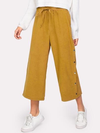 Hosen Mit Knopfen Auf Den Seiten Und Kordelzug Hosenrock Modestil Kleider